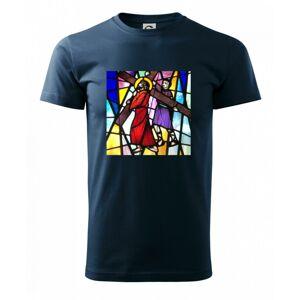 Vitráž - ježiš a kríž - Heavy new - tričko pánske