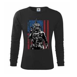 Americký vojak s vlajkou - Tričko detské Long Sleeve