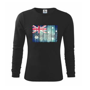 Austrália - vlajka na doskovej stene  - Tričko detské Long Sleeve