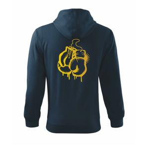 Box rukavice - zlatá potlač - Mikina s kapucňou na zips trendy zipper