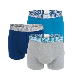 CRISTIANO RONALDO CR7 - 3PACK blue boxerky s logom RONALDO z organickej bavlny-L (86-92 cm)