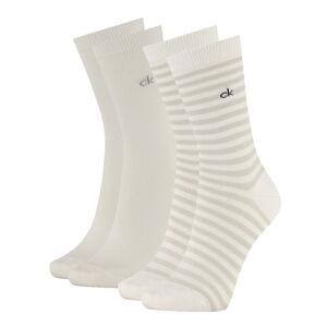 CALVIN KLEIN - 2PACK white stripes ponožky z organickej bavlny-UNI
