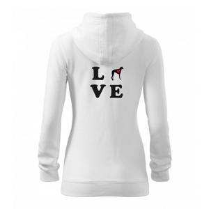 Chrt love - Mikina dámska trendy zipper s kapucňou
