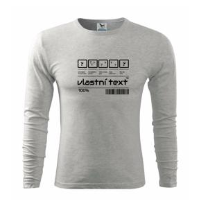 Čiarový kód - Vlastný text - Tričko s dlhým rukávom FIT-T long sleeve