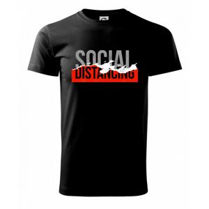 Corona social distancing nápis - Tričko Basic Extra veľké