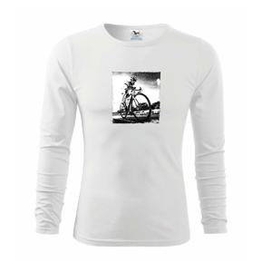 Cyklista čiernobiela cesta - Tričko detské Long Sleeve