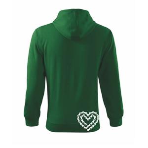 Cyklo srdce reťaz - Mikina s kapucňou na zips trendy zipper