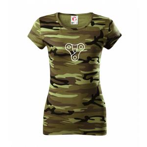 Cyklo srdce reťaz trojuholník - Dámske maskáčové tričko