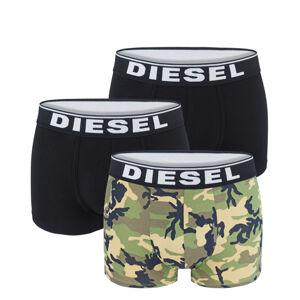 DIESEL - 3PACK cotton stretch army green & black camo boxerky - limitovaná edícia-M (78-83 cm)