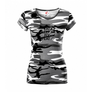 Eat sleep fly repeat - Dámske maskáčové tričko