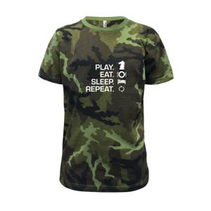 Eat sleep play - šach - Detské maskáčové tričko