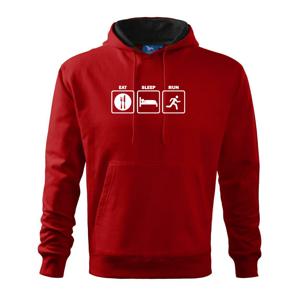 Eat sleep run štvorce - Mikina s kapucňou hooded sweater
