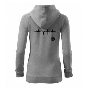EKG Vianočná ozdoba - Mikina dámska trendy zipper s kapucňou