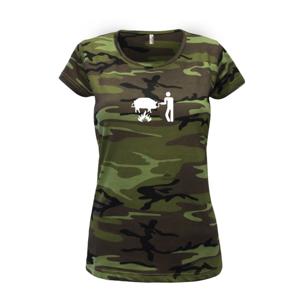 Grilovanie - Prasa - Dámske maskáčové tričko