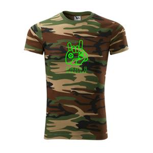 Hardcore gamer - ruka - fluo zelená - Army CAMOUFLAGE