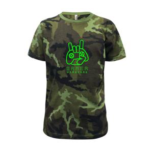Hardcore gamer - ruka - fluo zelená - Detské maskáčové tričko