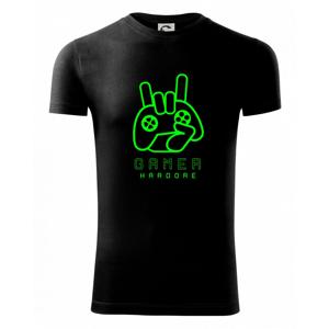 Hardcore gamer - ruka - fluo zelená - Viper FIT pánske tričko