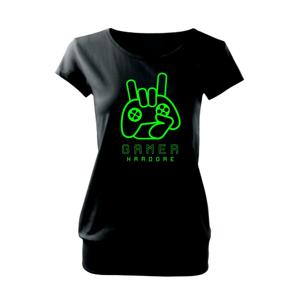 Hardcore gamer - ruka - fluo zelená - Voľné tričko city