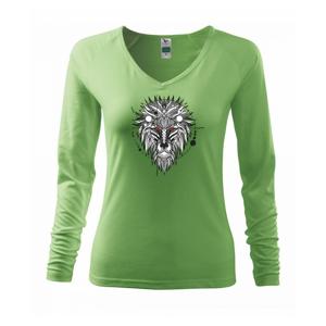 Hlava leva - geometrická - Tričko dámske Elegance