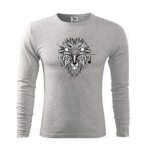 Hlava leva - geometrická - Tričko s dlhým rukávom FIT-T long sleeve