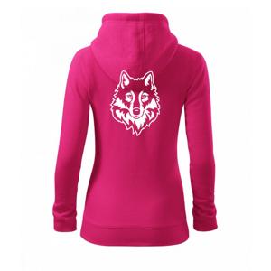 Hlava vlka čiernobiela (Hana-creative) - Mikina dámska trendy zipper s kapucňou