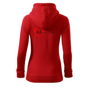 Hruška EKG - Mikina dámska trendy zipper s kapucňou