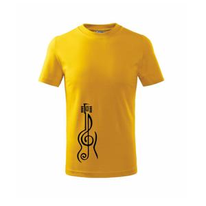 Husľový kľúč gitara - Tričko detské basic