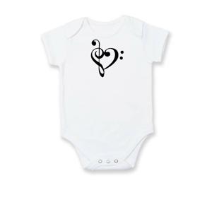 Husľový kľúč srdce - Dojčenské body
