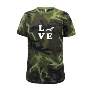 Jazvečík - Love - Detské maskáčové tričko