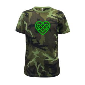 Keltský uzol srdce - Detské maskáčové tričko