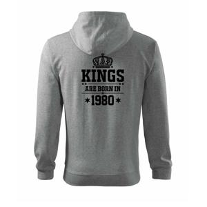 Kings are born in 1980 - Mikina s kapucňou na zips trendy zipper