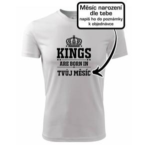 Kings are born in (vlastný nápis mesiac narodenia) - Pánske tričko Fantasy športové
