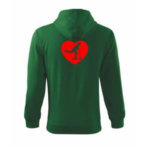 Kolobežka srdce - Mikina s kapucňou na zips trendy zipper