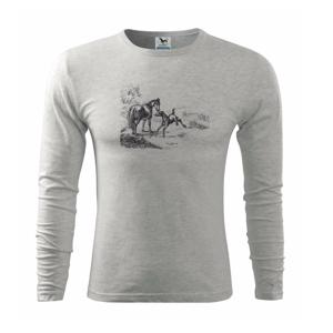 Kôň a žriebä maľované - Tričko s dlhým rukávom FIT-T long sleeve