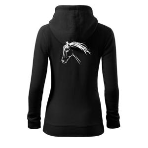 Kôň - hlava celá - Mikina dámska trendy zipper s kapucňou