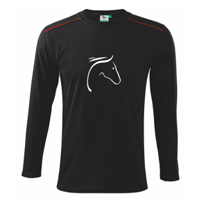 Kôň - hlava silueta - Tričko s dlhým rukávom Long Sleeve