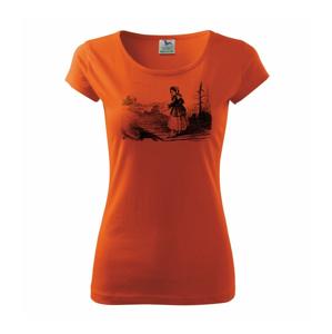Kreslené dievča na rybách  - Pure dámske tričko