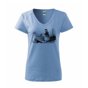 Kreslené dievča na rybách  - Tričko dámske Dream