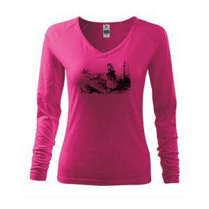 Kreslené dievča na rybách  - Tričko dámske Elegance