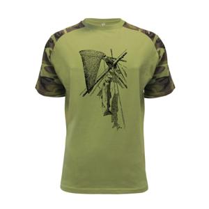 Kreslený podberák a chytená ryba  - Raglan Military