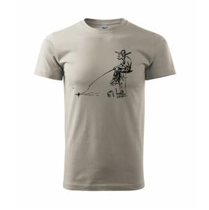 Kreslený rybár na pni  - Heavy new - tričko pánske