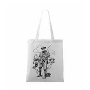 Kreslený rybár s úlovkom - Taška malá