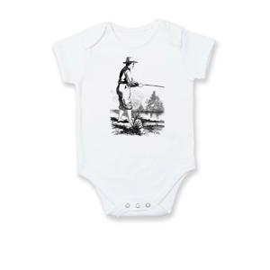 Kreslený rybár s vytiahnutými nohavicami - Dojčenské body