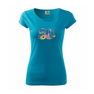 Kvetinové číslo kreslené - 50 - Pure dámske tričko