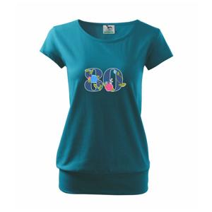 Kvetinové číslo kreslené - 80 - Voľné tričko city