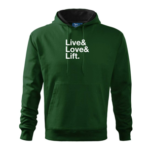 Live, love, lift - Mikina s kapucňou hooded sweater