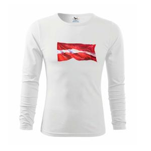 Lotyšsko vlajka vlajúce - Tričko detské Long Sleeve