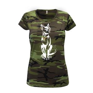 Mačka - Egyptská mačka - Dámske maskáčové tričko