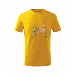 Mačka farebné krivky - Tričko detské basic