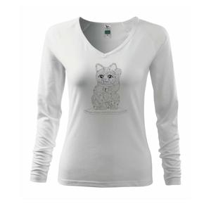 Mačka mávajúca mandala - Tričko dámske Elegance